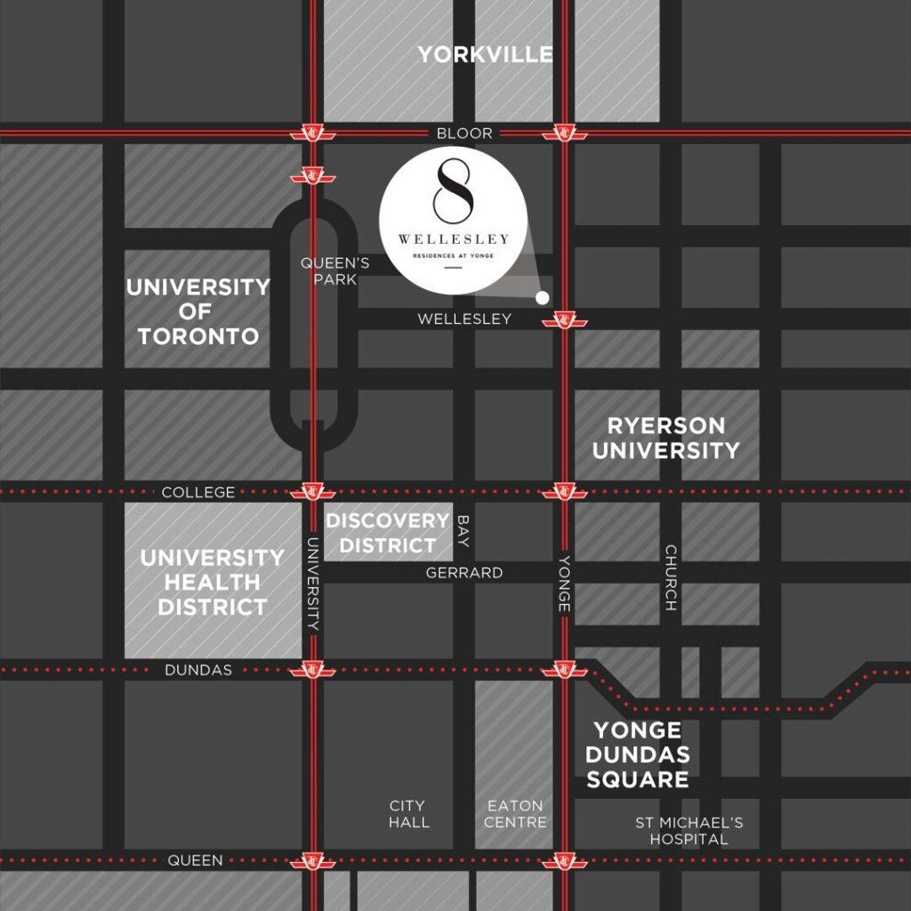 8 Wellesley Location Map 多伦多地产犀牛