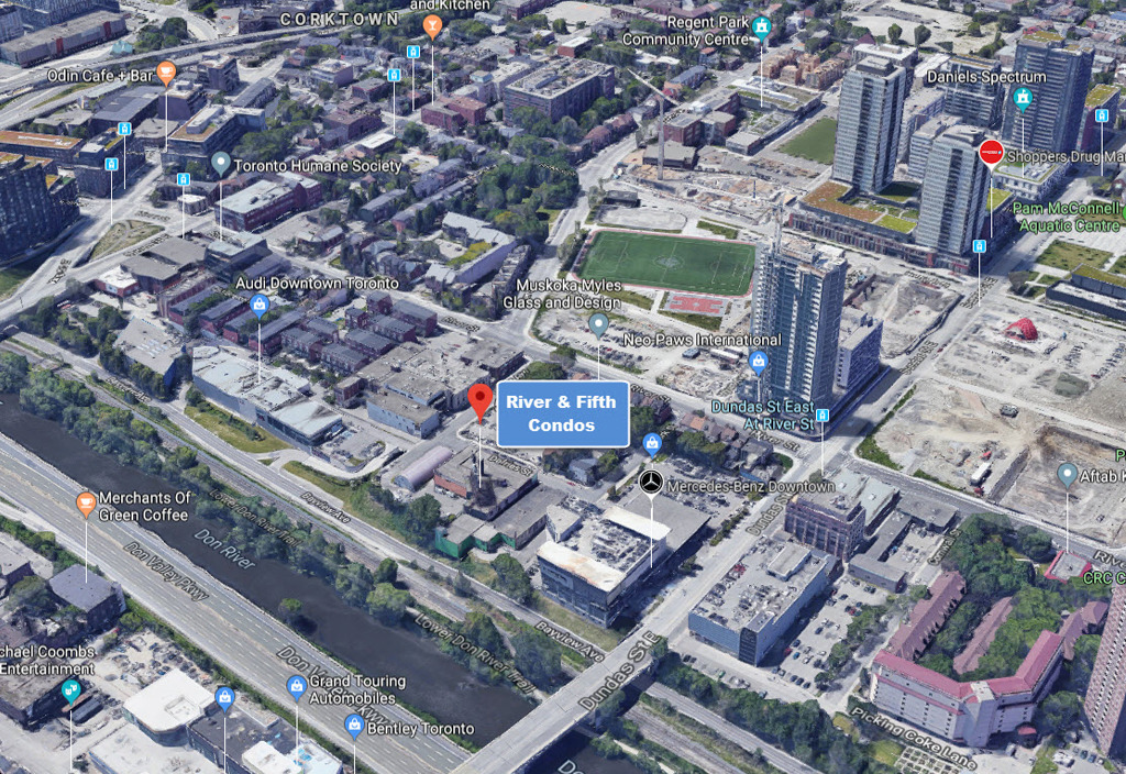 River and Fifth Condos Neighborhood Area Map View 34 v126 full 多伦多地产犀牛